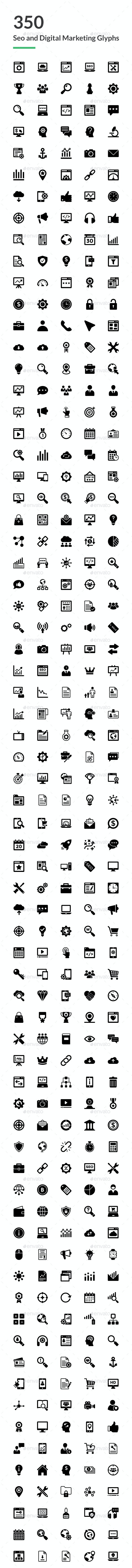 350 SEO and Digital Marketing Icons - Icons