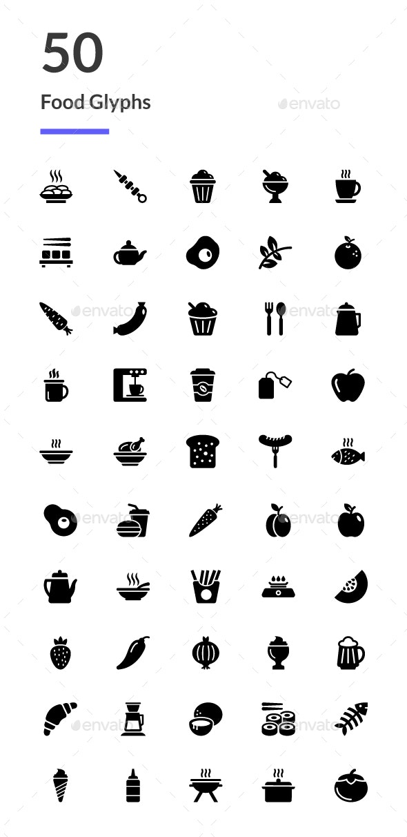 50 Food Glyph Icons - Icons