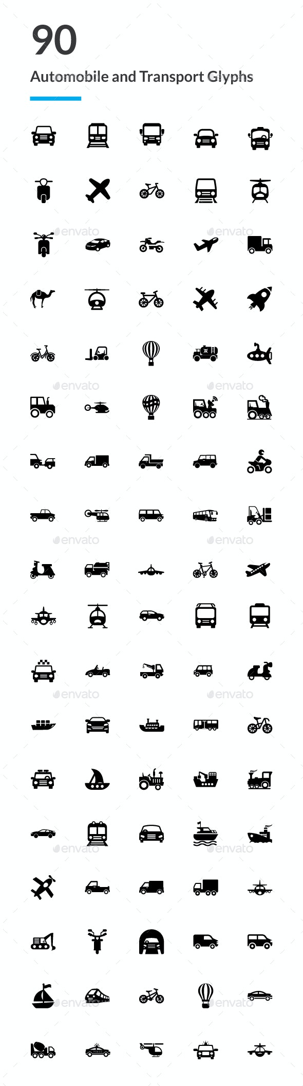 90 Automobile and Transport Icons - Icons