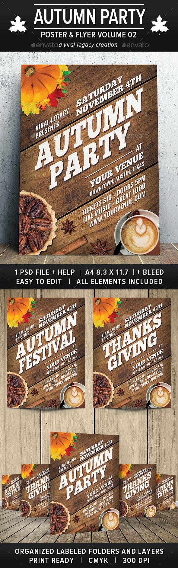 Autumn Party Poster / Flyer V02 - Flyers Print Templates