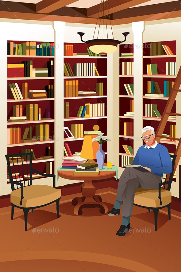 Senior Man Reading a Book in the Library - People Characters