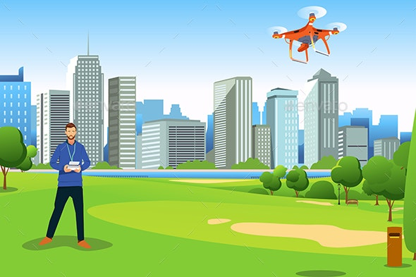Man Flying Drone in a Park Illustration - People Characters