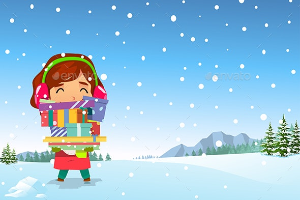 Happy Girl Carrying Christmas Presents in the Snow - Christmas Seasons/Holidays