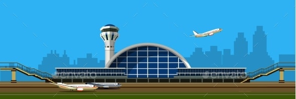 Airport Building Vector Illustration - Travel Conceptual