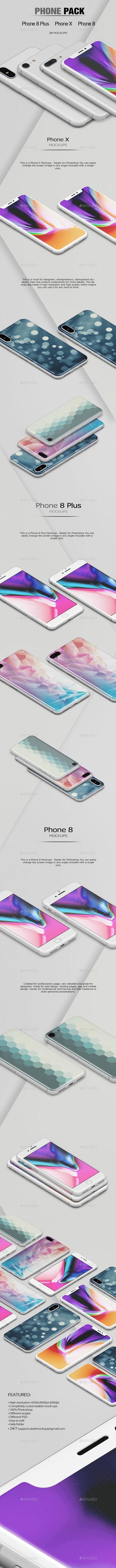 New Phones Pack Mockup 2017 - Product Mock-Ups Graphics