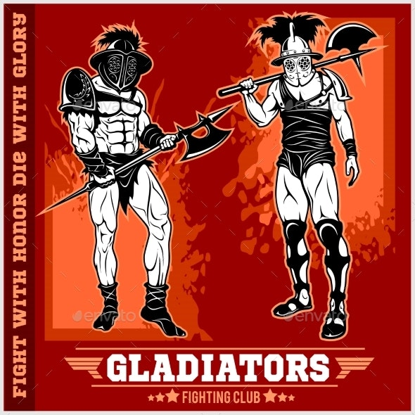Set of Gladiators on Red Background - Sports/Activity Conceptual