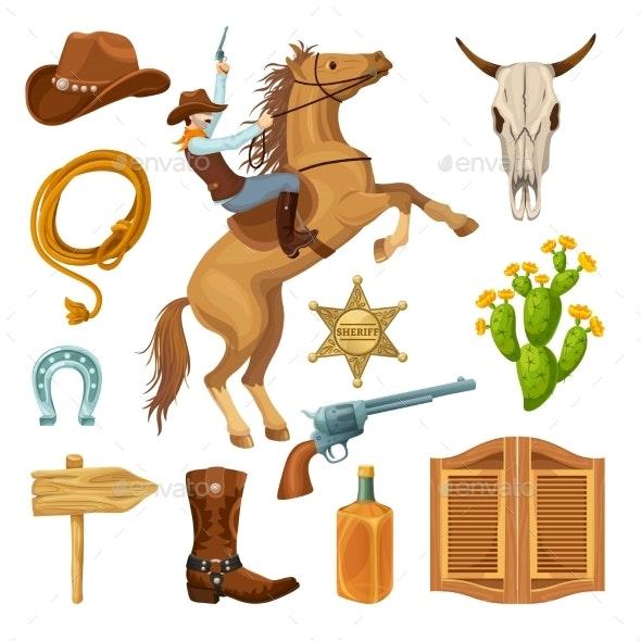 Colorful Wild West Elements Set - Miscellaneous Vectors