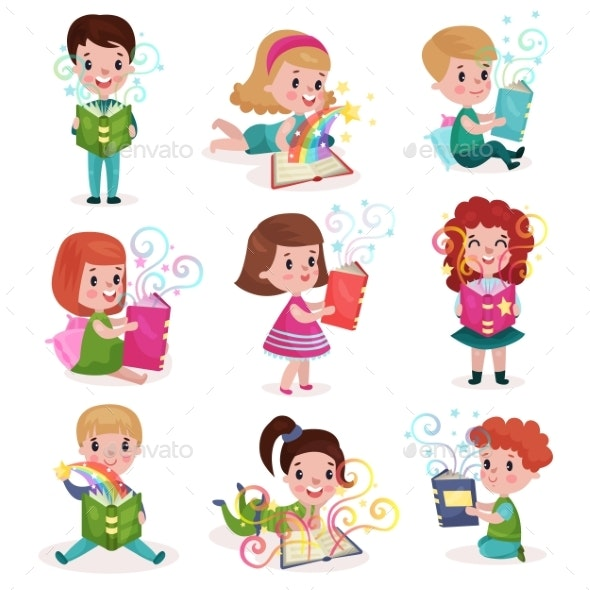 Little Boys and Girls Reading Fairytale Books - Miscellaneous Vectors