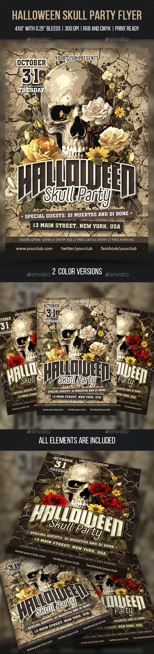 Halloween Skull Party Flyer - Clubs & Parties Events