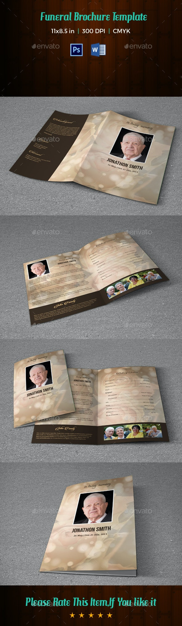 Funeral Program Template V199 - Informational Brochures