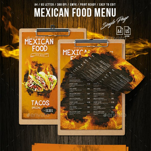 Mexican A4 - US Letter Single Page Food Menu