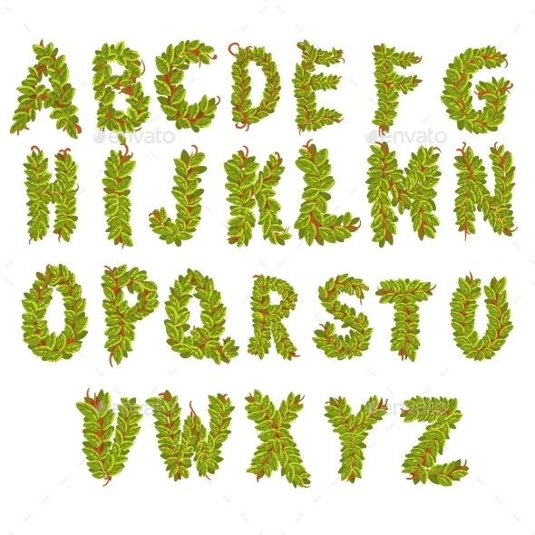 Vector Leaves Alphabet Letters - Flowers & Plants Nature