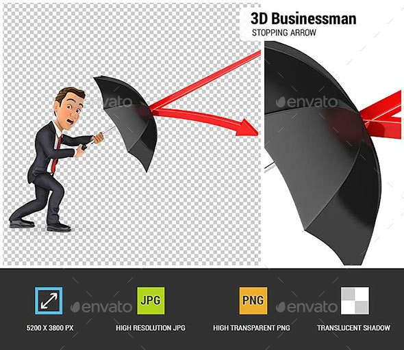 3D Businessman Stopping Arrow with Umbrella - Characters 3D Renders