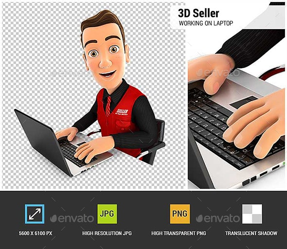3D Seller Working on Laptop - Characters 3D Renders