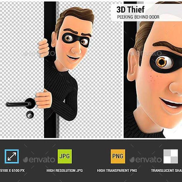 3D Thief Peeking Behind a Door