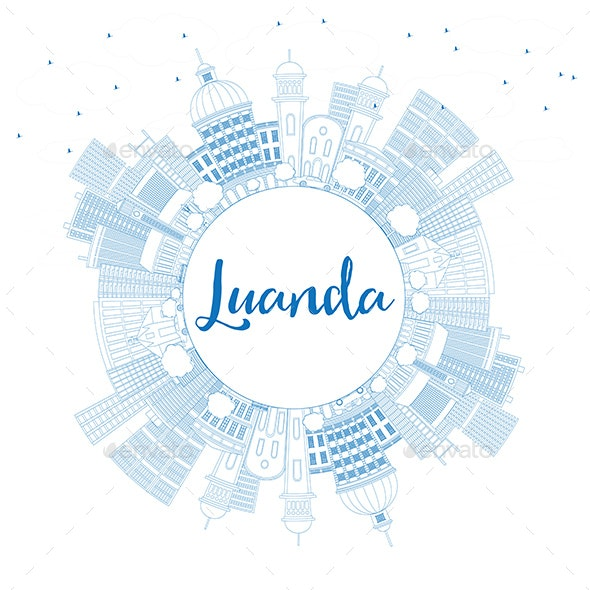 Outline Luanda Skyline with Blue Buildings and Copy Space - Buildings Objects