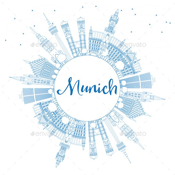 Outline Munich Skyline with Blue Buildings and Copy Space - Buildings Objects