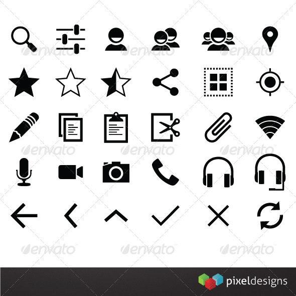 30 Smart Phone Framework Icons - Software Icons