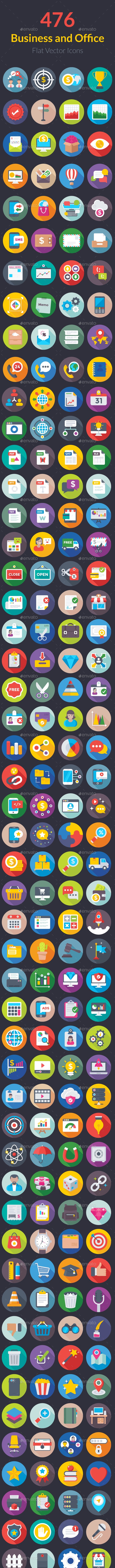 476 Business and Office Flat Icons - Icons