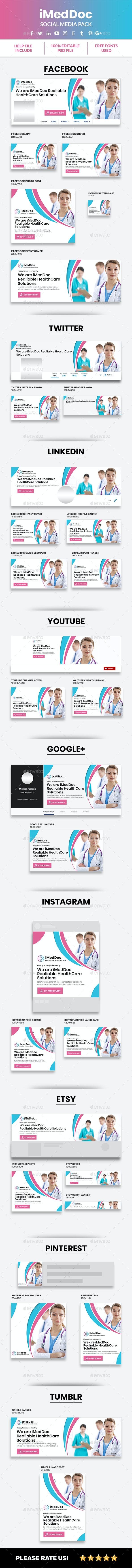 iMedDoc: Health and Medical Doctor Social Media Pack - Social Media Web Elements