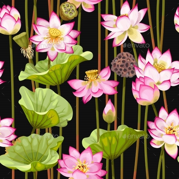 Seamless Pattern with Lotus Flowers - Flowers & Plants Nature
