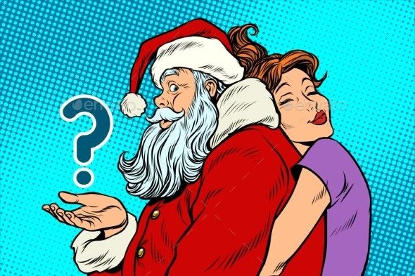 Santa Claus and Woman - Christmas Seasons/Holidays