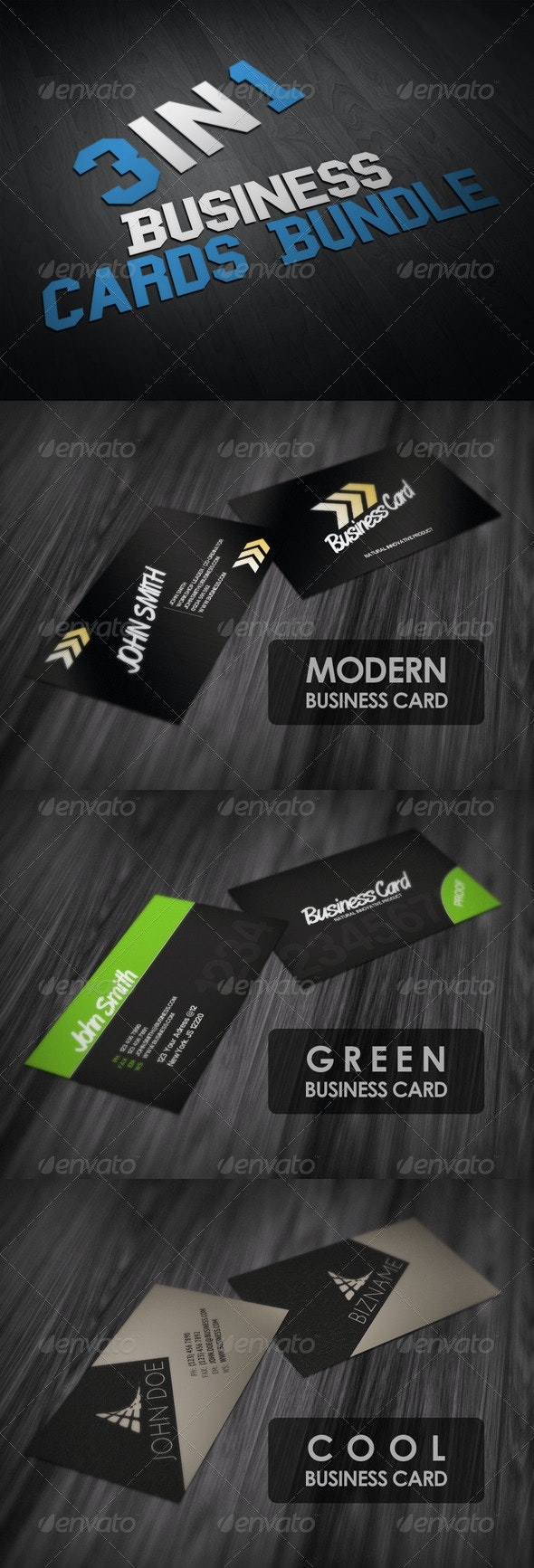 Business Cards Bundle 3in1 - Corporate Business Cards