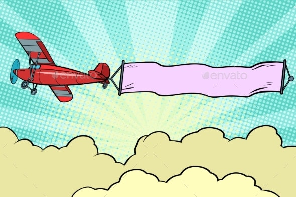 Retro Airplane with a Ribbon in the Sky - Man-made Objects Objects