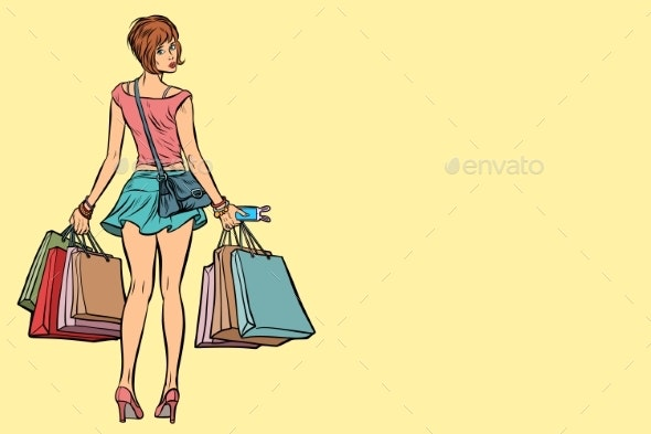 Young Woman with Shopping Bags Sale - People Characters