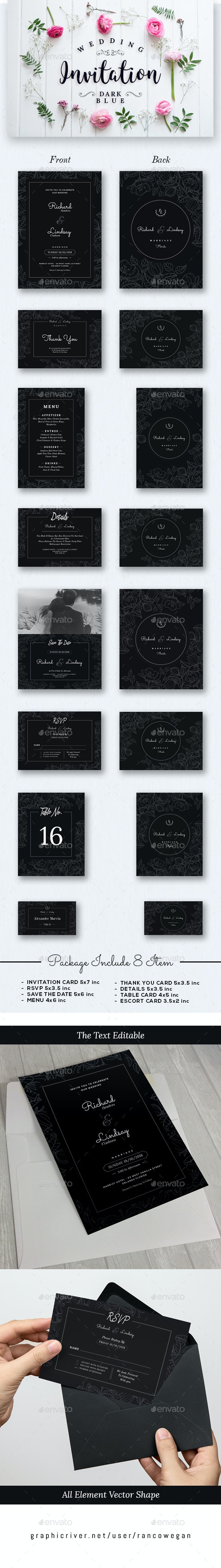 Wdding Invitation Set Dark Blue - Cards & Invites Print Templates