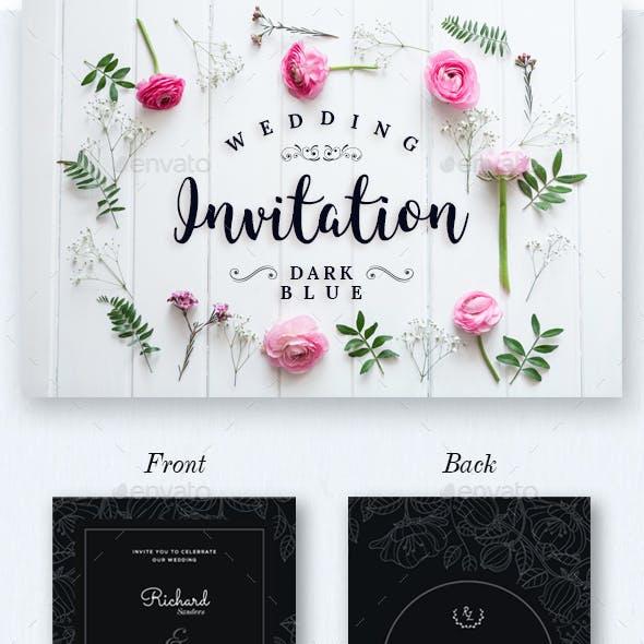 Wdding Invitation Set Dark Blue