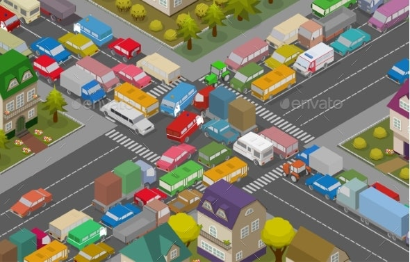 Traffic Jam Isometric Cars and Houses - Man-made Objects Objects