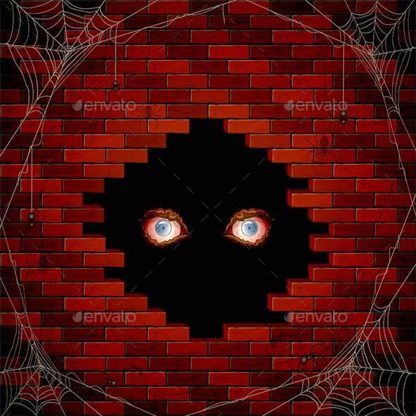 Evil Eyes in the Hole of the Brick Wall and Spiders - Halloween Seasons/Holidays