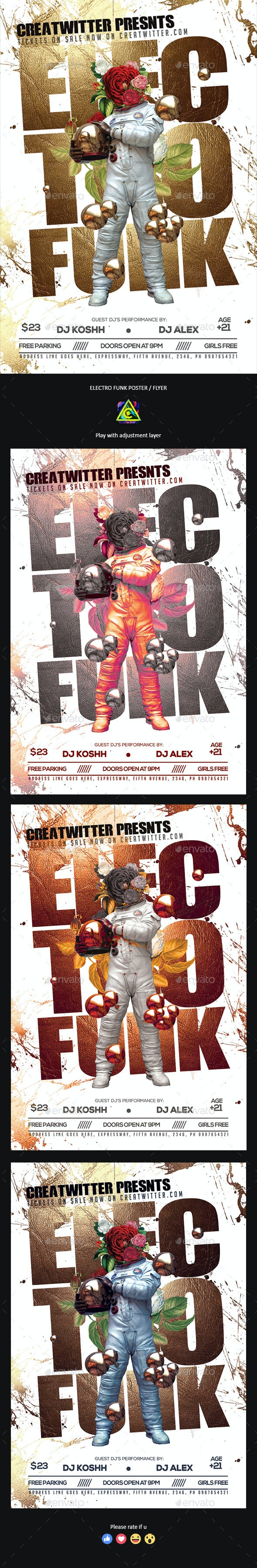 Electro Funk Party Poster / Flyer - Clubs & Parties Events