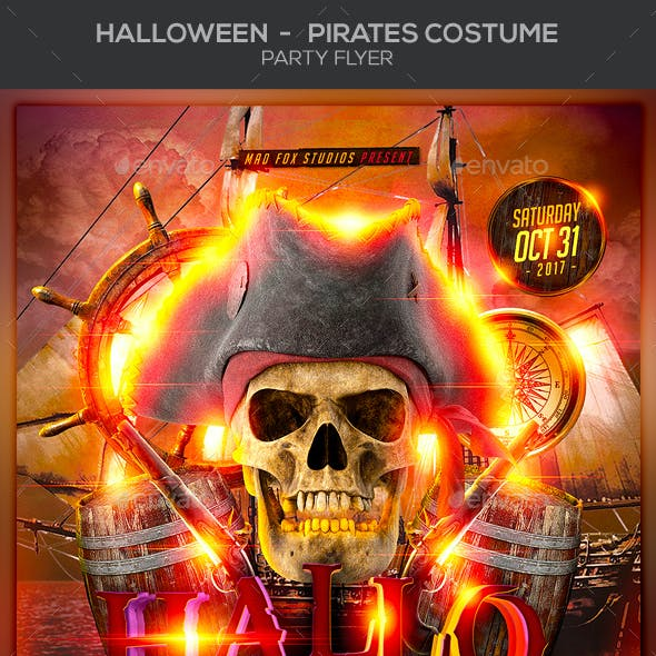 Halloween Pirates Costume Party Flyer