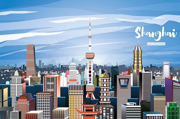 Shanghai China City Skyline - Buildings Objects