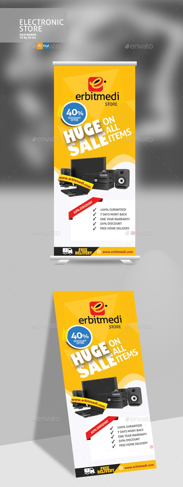 Electric Store Sign Design - Signage Print Templates