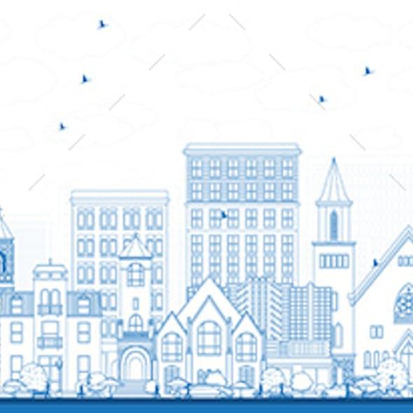 Outline Burlington Iowa Skyline with Blue Buildings