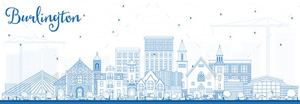 Outline Burlington Iowa Skyline with Blue Buildings - Buildings Objects
