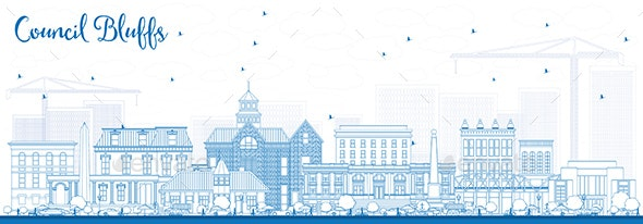 Outline Council Bluffs Iowa Skyline with Blue Buildings - Buildings Objects