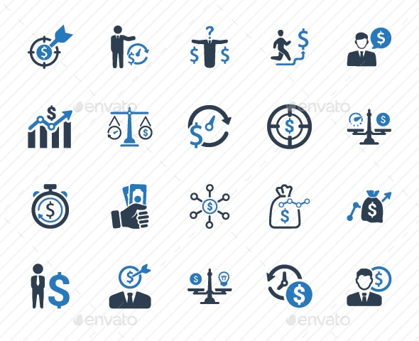 Budget Plan Icons - Blue Version - Business Icons