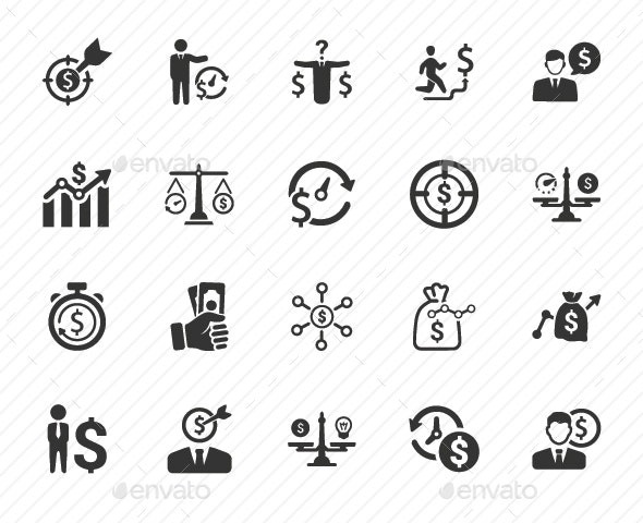 Budget Plan Icons - Gray Version - Business Icons