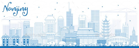 Outline Nanjing China Skyline with Blue Buildings - Buildings Objects