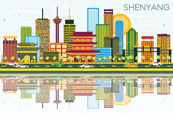 Shenyang Skyline with Color Buildings, Blue Sky and Reflections - Buildings Objects