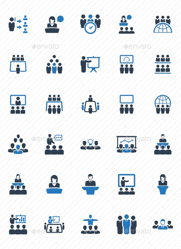 Business Conference Icons - Blue Version - Business Icons