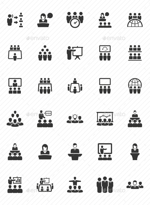 Business Conference Icons - Gray Version - Business Icons