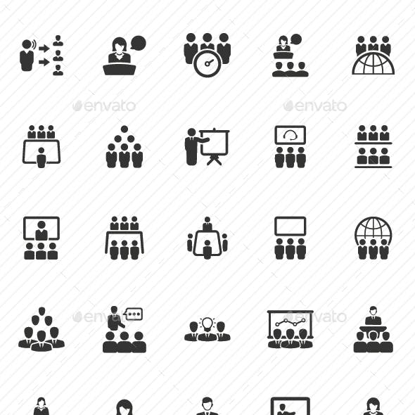 Business Conference Icons - Gray Version