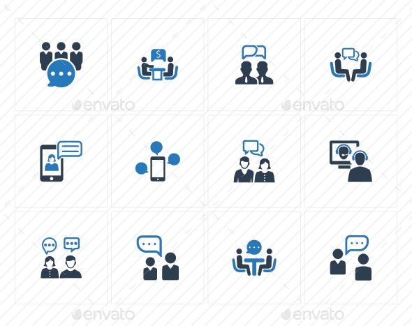 Discussion Icons - Blue Version - Business Icons