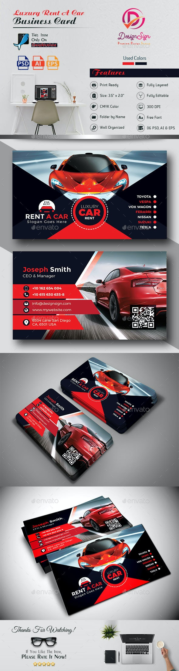 Luxury Rent A Car Business Card - Industry Specific Business Cards