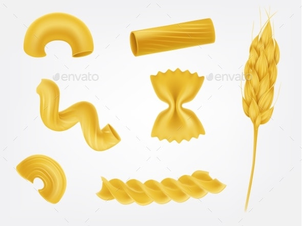 Pasta Types and Forms Realistic Vector Set - Food Objects